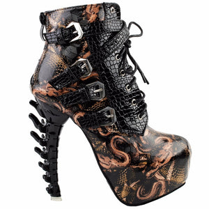 Lazy Raven's Bone High Heel Platform Ankle Boots