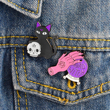 Psychic Kitty  and Bad Witch Enamel Pins - The Lazy Raven