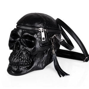 Skull Leather Messenger Bag - The Lazy Raven