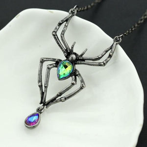 The Lazy Raven's Crystal Spider Pendant
