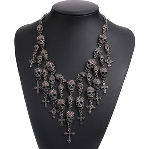 Skull Heads necklace metal chain crystal skeleton necklace fashion necklaces & pendants skull Skullcandy maxi statement Necklace - The Lazy Raven