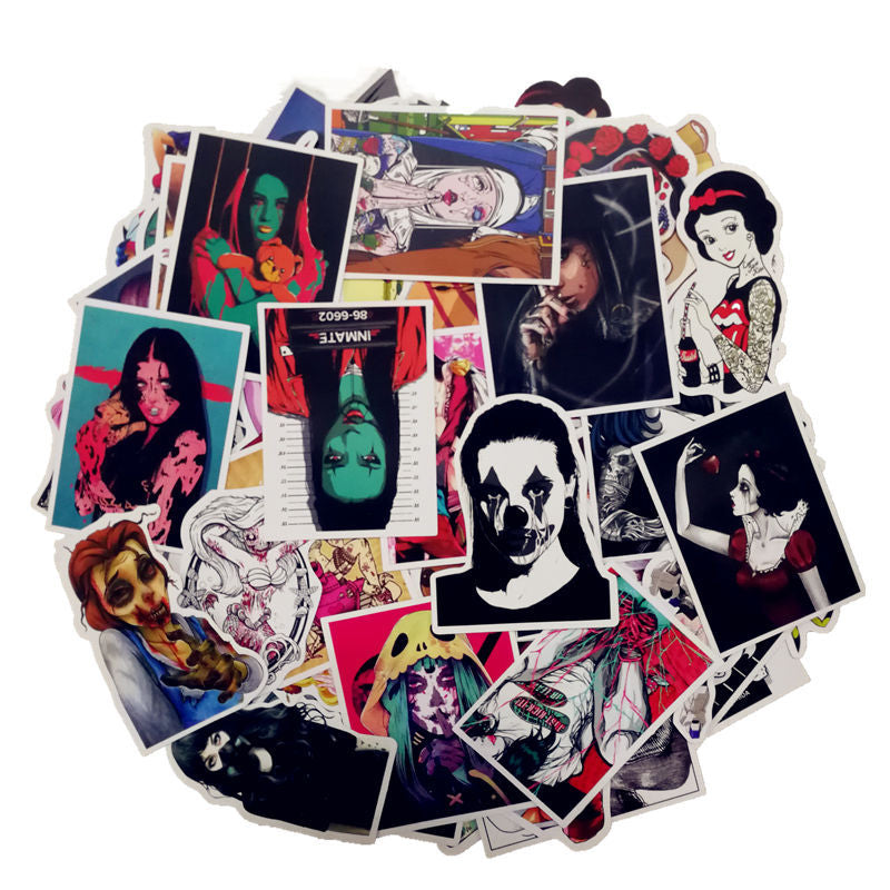 100 Pcs Mixed Horror Stickers Grab Bag - The Lazy Raven