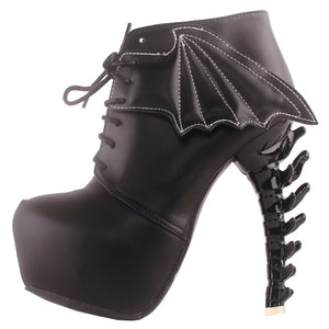 LF80658 Show Story Punk Two Tone Wings Lace Up Bone Heels Platform Ankle Boots