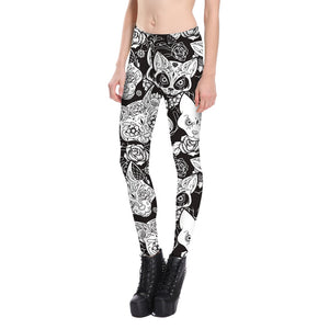 Black Skull Cat Leggings