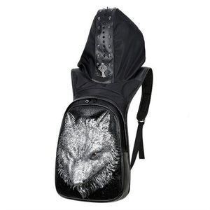 Lone Wolf Leather Backpack (With Hood)