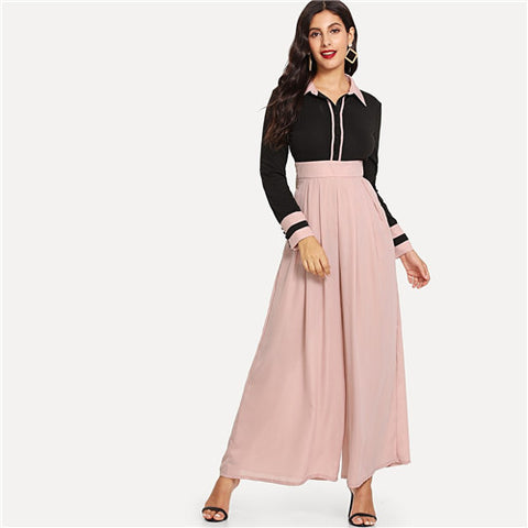 5eef3e3a37 SHEIN Long Sleeve High Waist Wide Leg Two Tone Patchwork Elegant Jumpsuits  Office Lady Spring Fall
