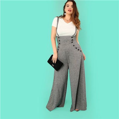 0e51e7149d SHEIN Grey High Waist Wide Leg Straps Plus Size Office Lady Long Jumpsuits  2018 New Flare