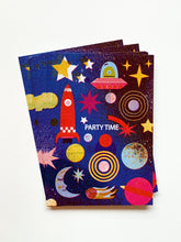 Load image into Gallery viewer, Outer Space Party Invites Set (x10) Postcards DIN A6