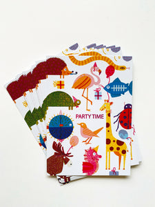 Party Animals Party Invites Set (x10) Postcards DIN A6