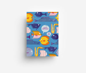 Birthday Fishes Postcard DIN A6