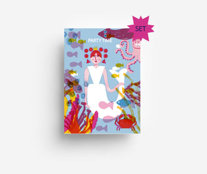 Mermaid Party Invites Set (x10) Postcards DIN A6