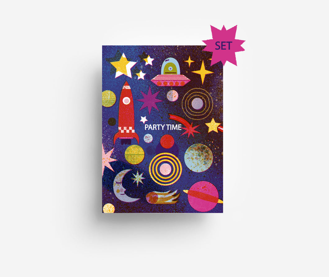 Outer Space Party Invites Set (x10) Postcards DIN A6