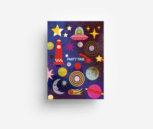 Outer Space Party Invite Postcard DIN A6