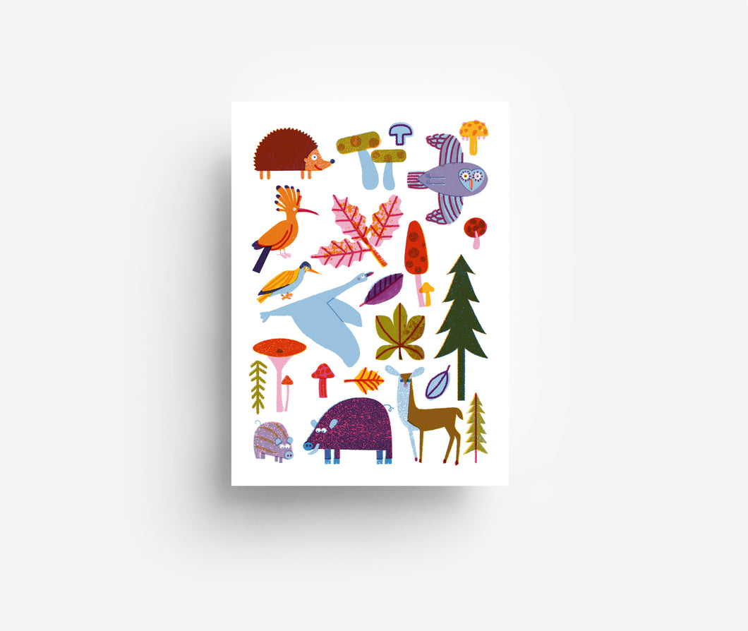 Woodland Animals Postcard DIN A6
