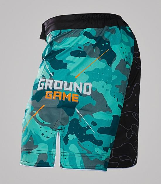 Left-side view of a Ground Game Moro MMA Shorts