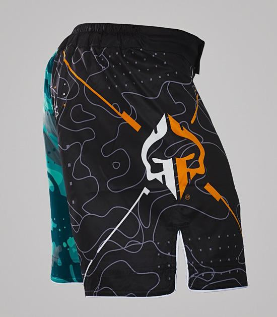 Right-side view of a Ground Game Moro MMA Shorts