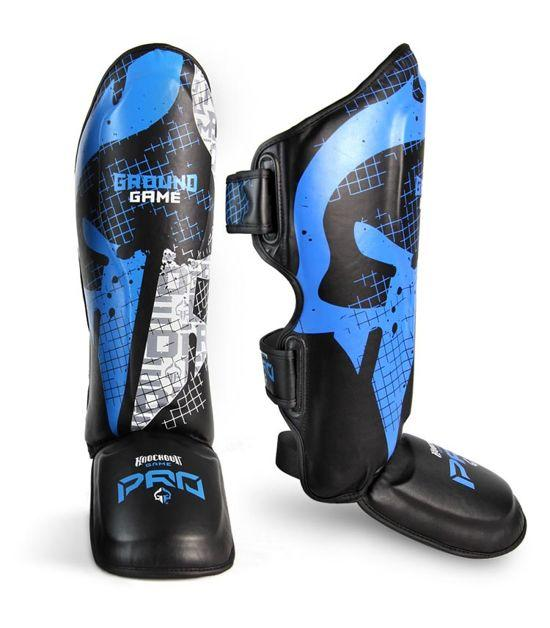 Front view of a Ground Game Cage Shin Guards