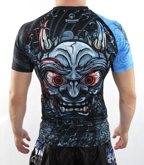 Back view of a Ground Game Oni Black Rashguard Short Sleeve