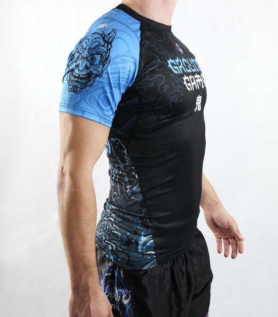 Left side view of a Ground Game Oni Black Rashguard Short Sleeve