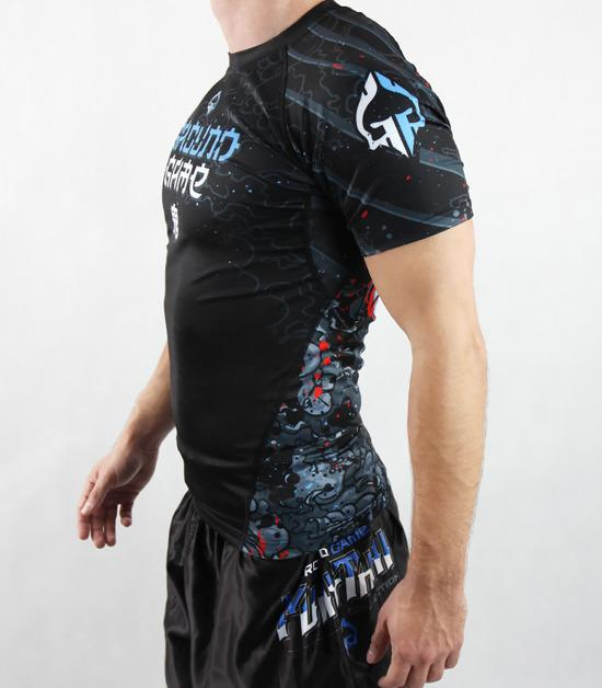 Right side view of a Ground Game Oni Black Rashguard Short Sleeve