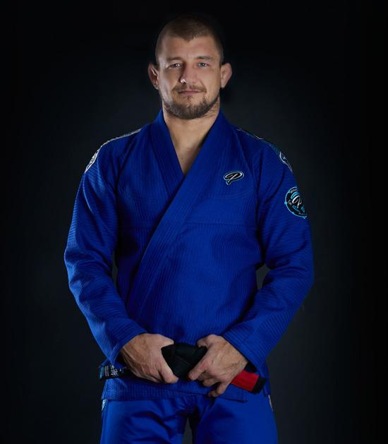 Front view of a Ground Game Player BJJ Gi Blue