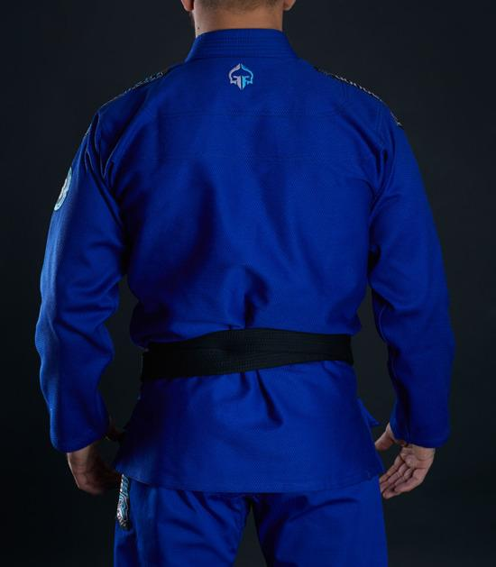 Back view of a Ground Game Rookie BJJ Gi Blue