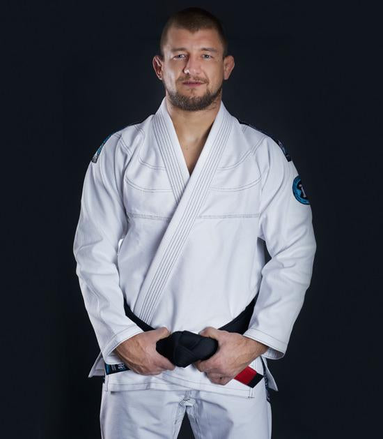 Front view of a Ground Game Rookie BJJ Gi White