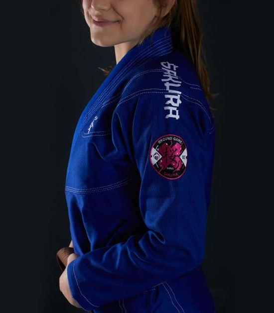 Side view of a Ground Game Sakura BJJ Women`s Gi Blue