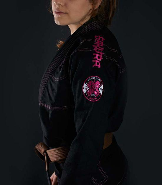 Right side view of a Ground Game Sakura BJJ Women`s Gi Black