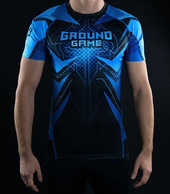 Front view of a Ground Game IBJJF Rank Rashguard Blue