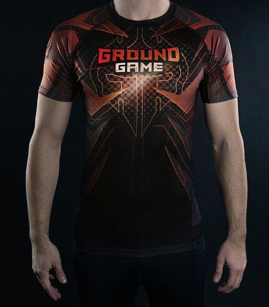 Front view of a Ground Game IBJJF Rank Rashguard Brown