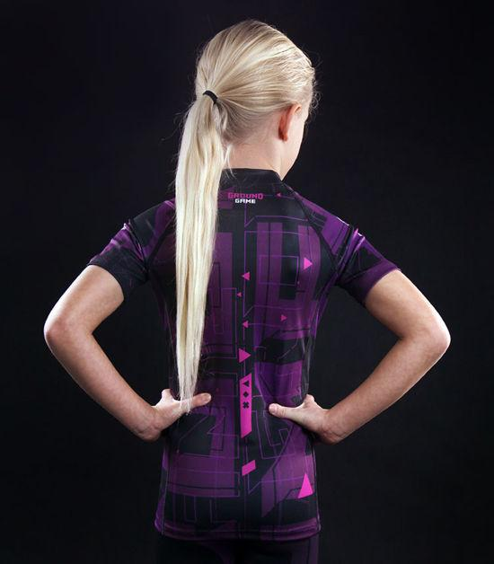Back view of a Ground Game Shapes Kids Rashguard Violet