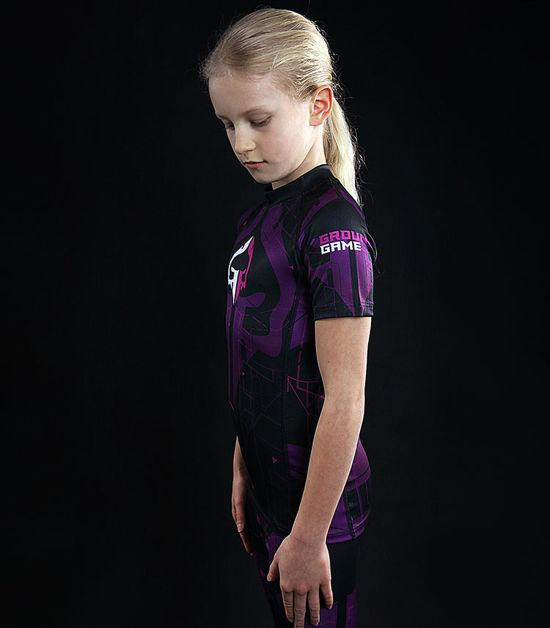 Side view of a Ground Game Shapes Kids Rashguard Violet