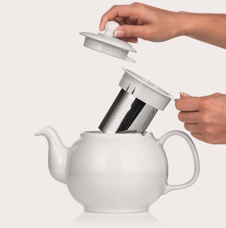 48 ounce tea pot Large Porcelain Teapot with Removable Stainless Steel Infuser