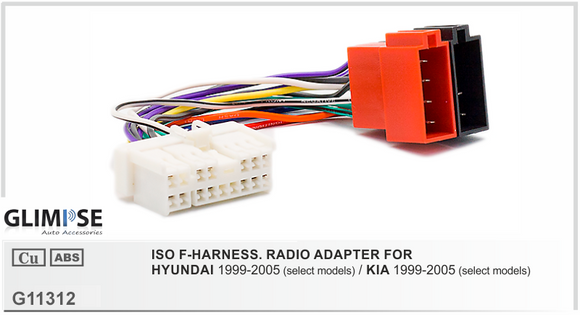 ISO F-HARNESS. RADIO ADAPTER FOR HYUNDAI 1999-2005 / KIA 1999-2005