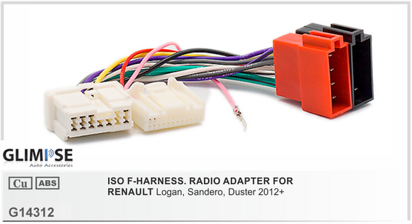 ISO F-HARNESS. RADIO ADAPTER FOR RENAULT Logan Sandero Duster 2012 on