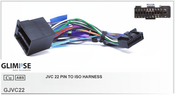 JVC  Kenwood 22 Pin to ISO Harness Headunit Loom
