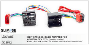 VOLKSWAGEN 2002+ (select models) / AUDI - SKODA - SEAT all Models with Quadlock connection ISO T-Harness