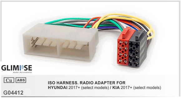 ISO Harness radio Adapter for Hyundai 2017 + / Kia 2017+ ISO