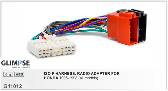 ISO F-HARNESS. RADIO ADAPTER FOR HONDA All Models 1995-1998