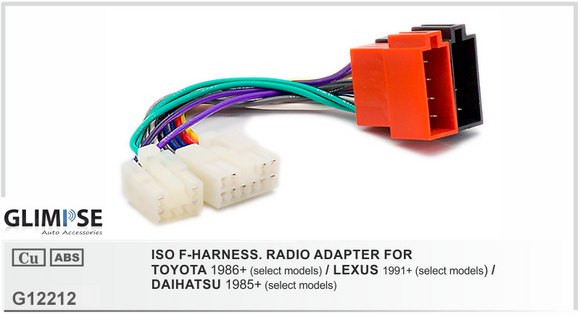 ISO F-HARNESS. RADIO ADAPTER FOR TOYOTA / LEXUS / DAIHATSU