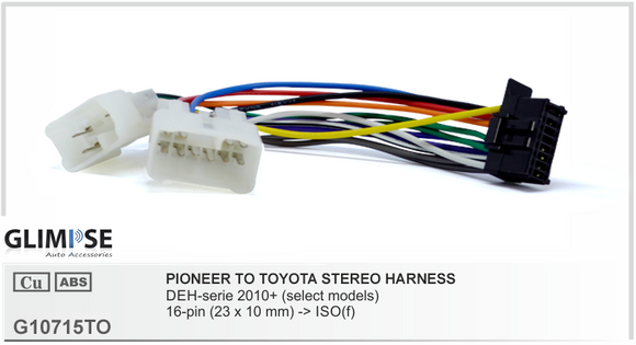 Pioneer  to Toyota Stereo Harness Headunit Loom
