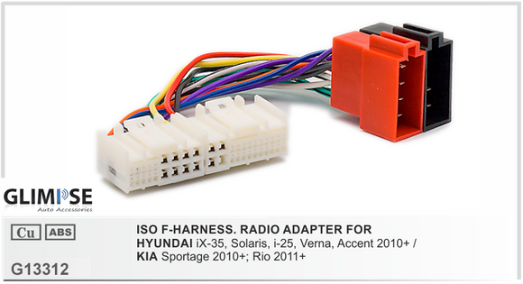 ISO F-HARNESS. RADIO ADAPTER FOR HYUNDAI iX-35 Solaris i-25 Verna Accent 2010 on / KIA Sportage 2010 on Rio 2011 on