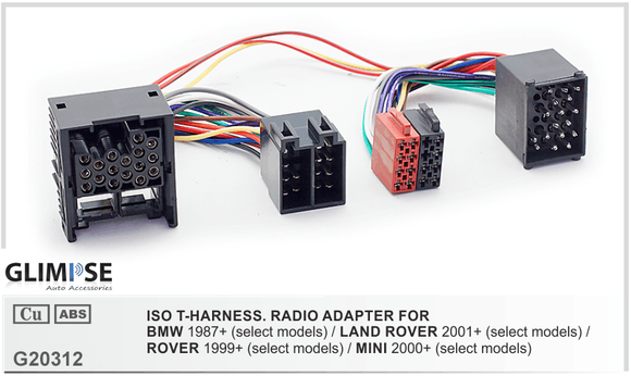 ISO T- Harness Radio Adapter for BMW 1987 - 2001 / Land Rover 2001 - 2004 / Rover 1999+ / Mini 2000+ ISO T-Harness