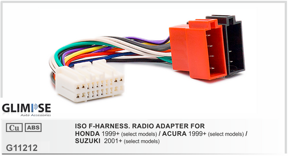 ISO F-HARNESS. RADIO ADAPTER FOR HONDA 1999 on / ACURA 1999 on / SUZUKI  2001 on