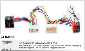MITSUBISHI 2007+ (select models / only acceptable for new 20-pin plug / without navigation / not for Rockford Fosgate amplifier) ISO T-Harness