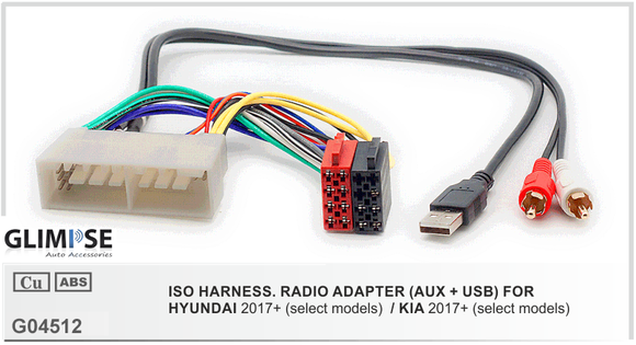 ISO Harness Radio Adapter (AUX+USB) for Hyundai 2017 + / Kia 2017+ ISO