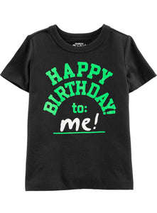 T-shirt Oshkosh B' gosh  original negro con letras HAPPY BIRTHDAY TO: ME ( Feliz cumpleaños a mi )