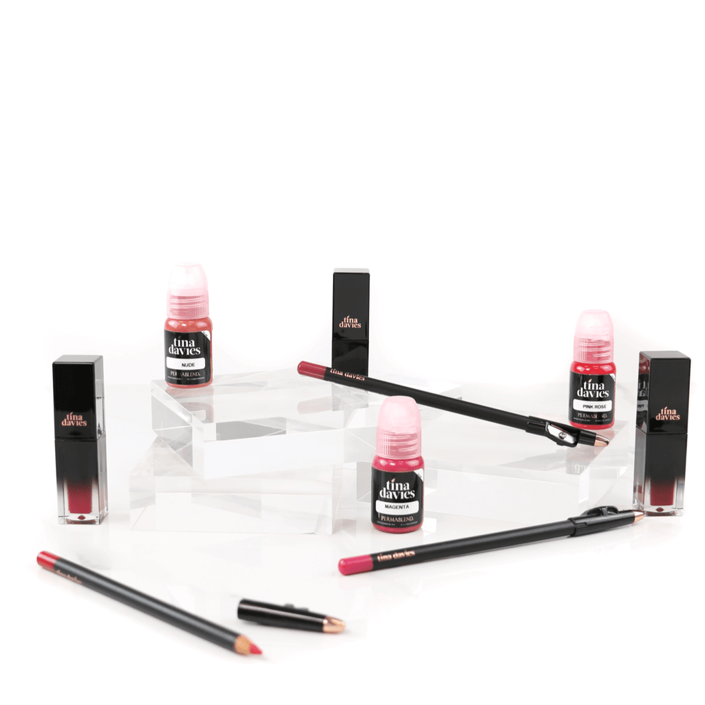 TIna Davis lip pigment collection with blush and lip pencils