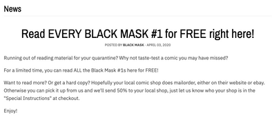 Read EVERY BLACK MASK #1 for FREE right here!